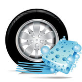 Car tire with blue sponge and water trace — Stock Vector