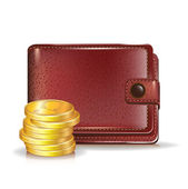 Wallet with golden coins — Stock Vector