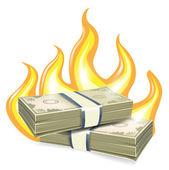 Burning piles of money — Stock Vector