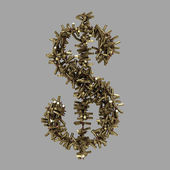 Dollar sign made of bullets — Stock Photo