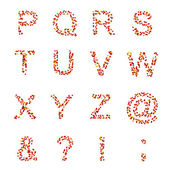 P-Z letters and symbols made of candies or pills — Stock Photo