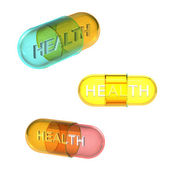 Three types of health pills — Stock Photo