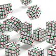 Stock Photo: Falling abstract cubes with graphs on faces