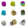 9 types of the toy cubes - Stock Photo