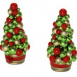 Stock Photo: Christmas tree made of balls in the pot