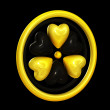 Heart symbols forming a radiation alert sign — 图库照片
