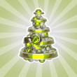 Shiny christmas tree made of balls and ribbons — Stock Photo