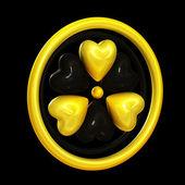Heart symbols forming a radiation alert sign — Stock Photo