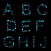 Alphabet: set of broken into pieces glass letters isolated on black — Stock Photo