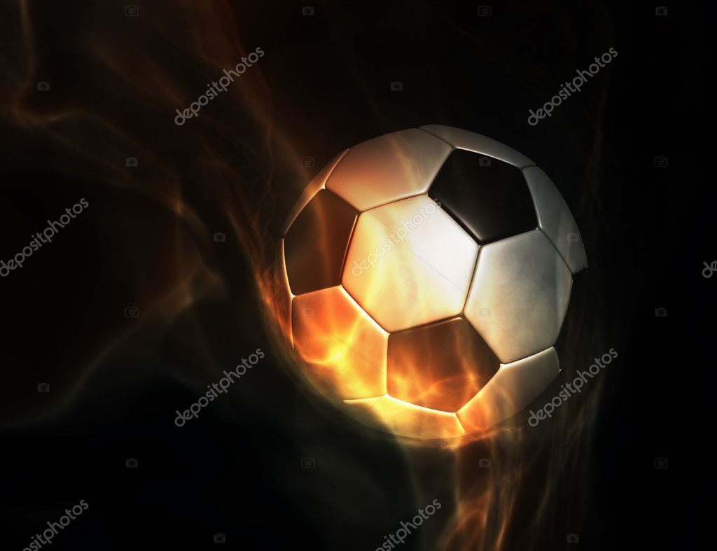 Soccer ball set on fire on black background  Stock Photo #7607055