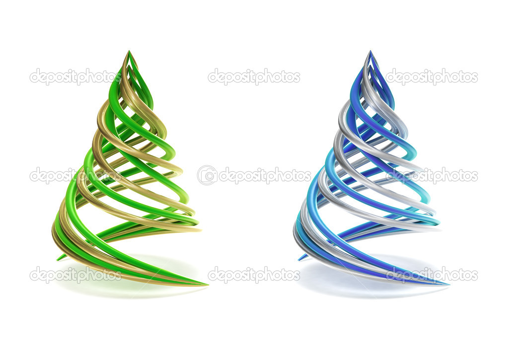 Pair of symbolic and minimalist christmas tree isolated on white — Stock Photo #7607097