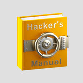 Hacker's manual book vault isolated on grey — Stock Photo