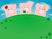 Three lucky pigs — Vector de stock