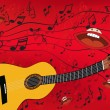 Abstract music background with a guitar - Image vectorielle