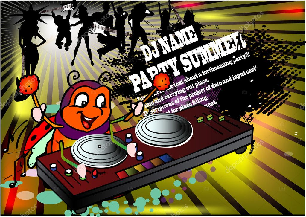 Bug  DJ. Fairy tale illustration — Stock Vector #6933364