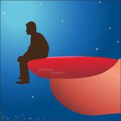 Man sitting on woman`s nail — Stock Vector
