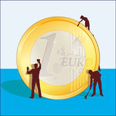 Cleaning of Euro coin — Stock Vector
