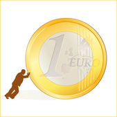 Businessman rolling EURO coin — Stock Vector