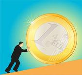 Businessman pushing big Euro coin — Stock Vector