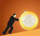 Businessman pushing big Euro coin against brown background — Stock Vector