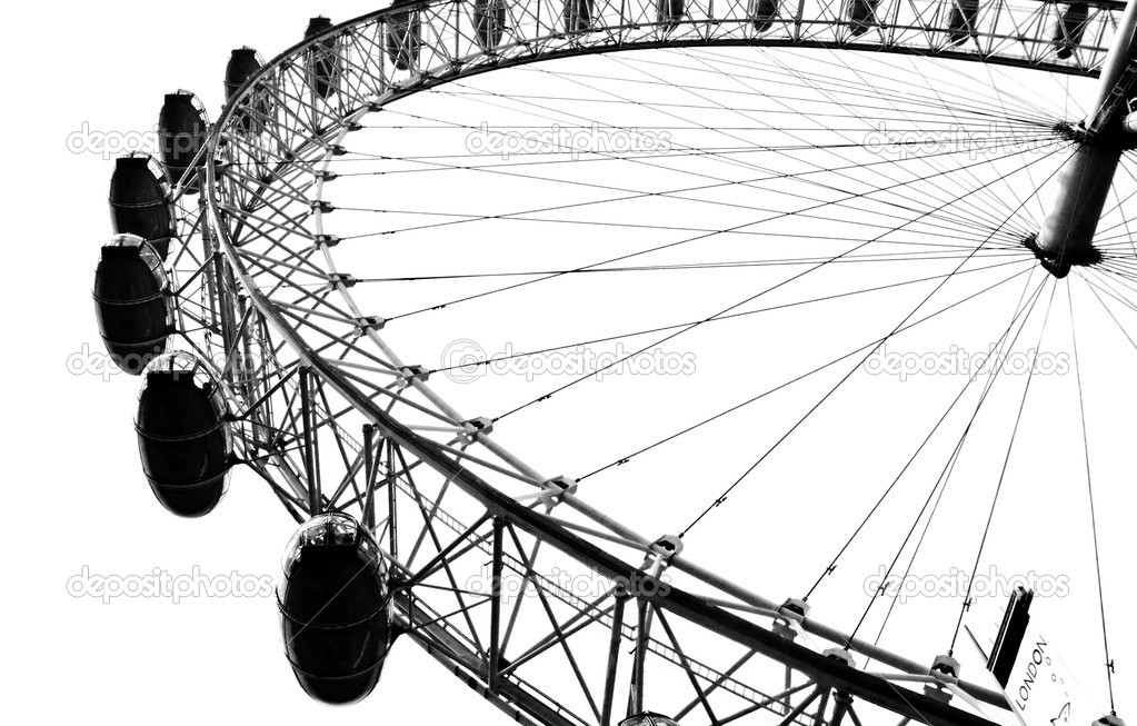 The London Eye in London in high contrast, black and white — Stock Photo #6856833