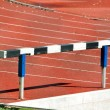 Hurdle in an Athletics Running Track — Stock Photo