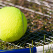 Royalty-Free Stock Photo: Tennis Ball and Racquet