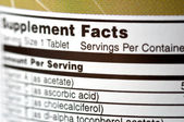 Supplement Facts — Stock Photo