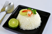 Boiled rice and shrimp — Stock Photo