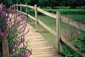 Wooden foot bridge with wild flowers — Stock Photo