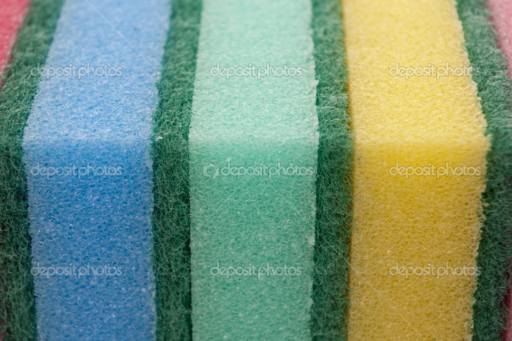 Multicolour kitchen sponges for ware washing — Stock Photo #7542840