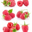 Set raspberry with green leaf — Stock Photo #6784677