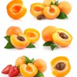 Set apricot fruits with green leaf — Stock Photo #6886262