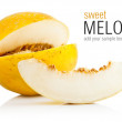 Yellow melon with cut - Stock Photo