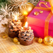 Christmas gift with branch firtree and candle — ストック写真