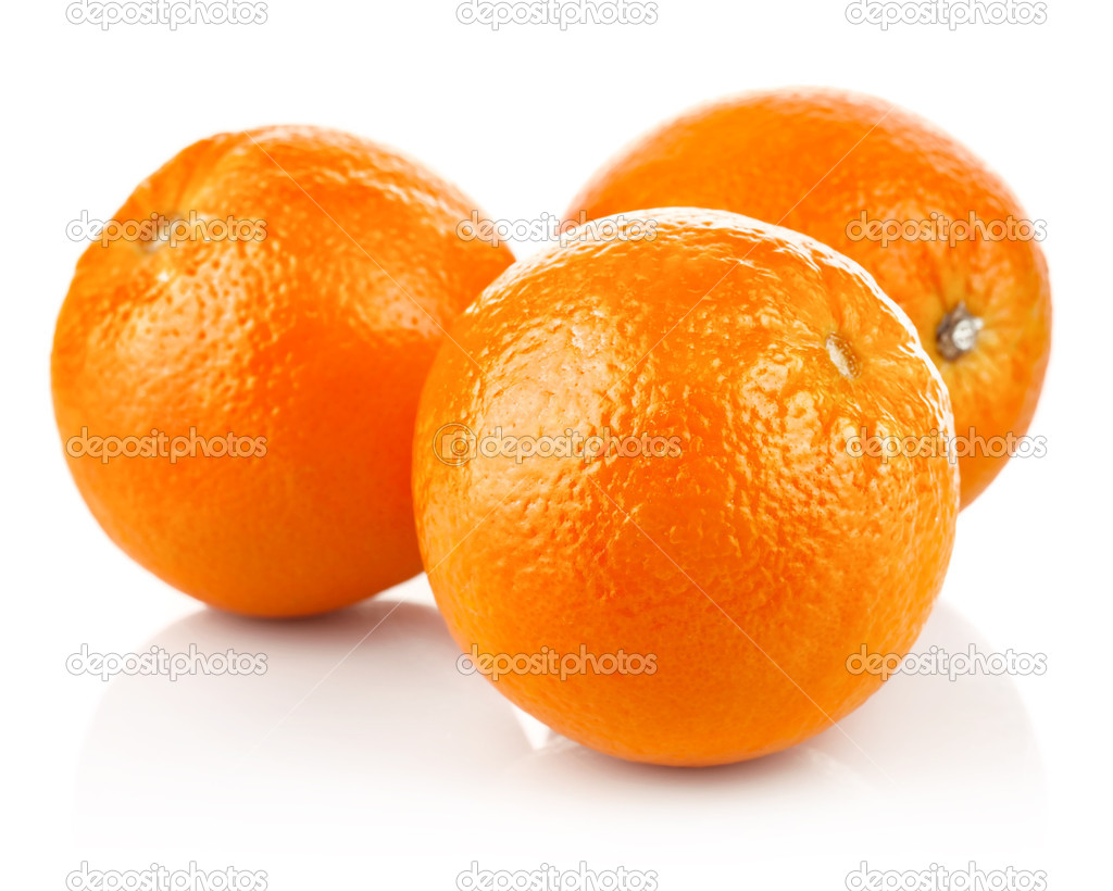 Fresh orange fruits isolated on white background — Stock Photo #7972832