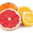 Fresh fruits orange lemon grapefruit in cut — Stock Photo
