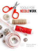 Tools for needlework thread scissors and tape measure — 图库照片
