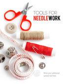 针线活线程剪刀和卷尺工具 — 图库照片