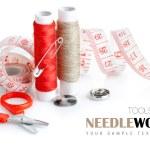 Tools for needlework thread scissors and tape measure — Stock Photo #8543019
