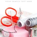Tools for needlework thread scissors and tape measure — Stock Photo #8546040