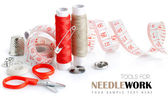 Tools for needlework thread scissors and tape measure — Stock Photo