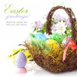Easter eggs in basket with spring flowers - Foto de Stock