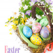Easter eggs in basket with spring flowers — Stock Photo #9408661