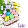 Easter eggs in basket with spring flowers — Stock Photo #9409494