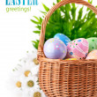 Easter eggs in basket with spring flowers — Stock Photo #9410768