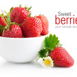 Strawberry berry with green leaf and flower — Stock Photo #9547342