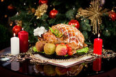 Christmas new year dinner — Stock Photo