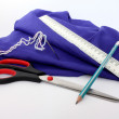 Stock Photo: Composition with scissors, pensil, ruler, tissue