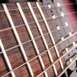 Stock Photo: Close up electric guitar frets